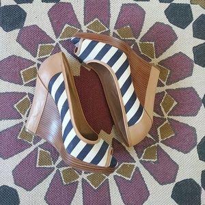 Splendid Navy Stripe Beverly Wedges